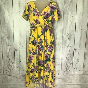 Pinkblush Yellow Floral Hi Low Midi dress